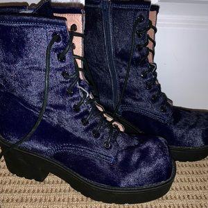 Jeffery Campbell Royal Blue Combat Boots